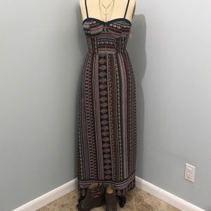 Multi color, lined maxi dress NWT